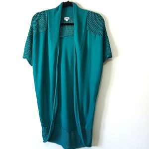 Kismet long teal short sleeved open cardigan